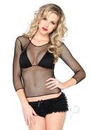 Leg Avenue Spandex Long Sleeve Industrial Net Shirt - O/s -...